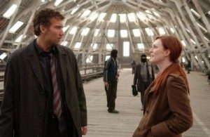 Clive Owen and Julianne Moore in Children of Men at the Dockyard's filming locations