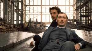 Robert Downey Jr and Jude Law in Sherlock Holmes at the dockyards filming locations