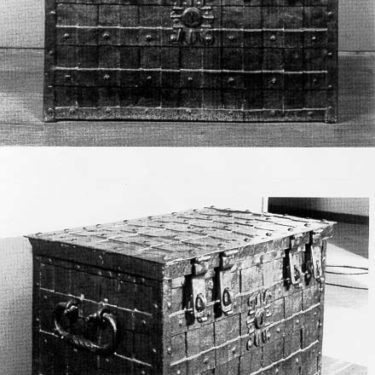 Black and white pictures of the Chatham Chest at The Historic Dockyard Chatham