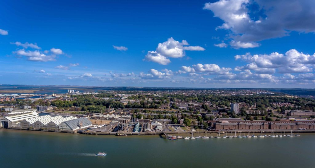 The Historic Dockyard Chatham from River Medway