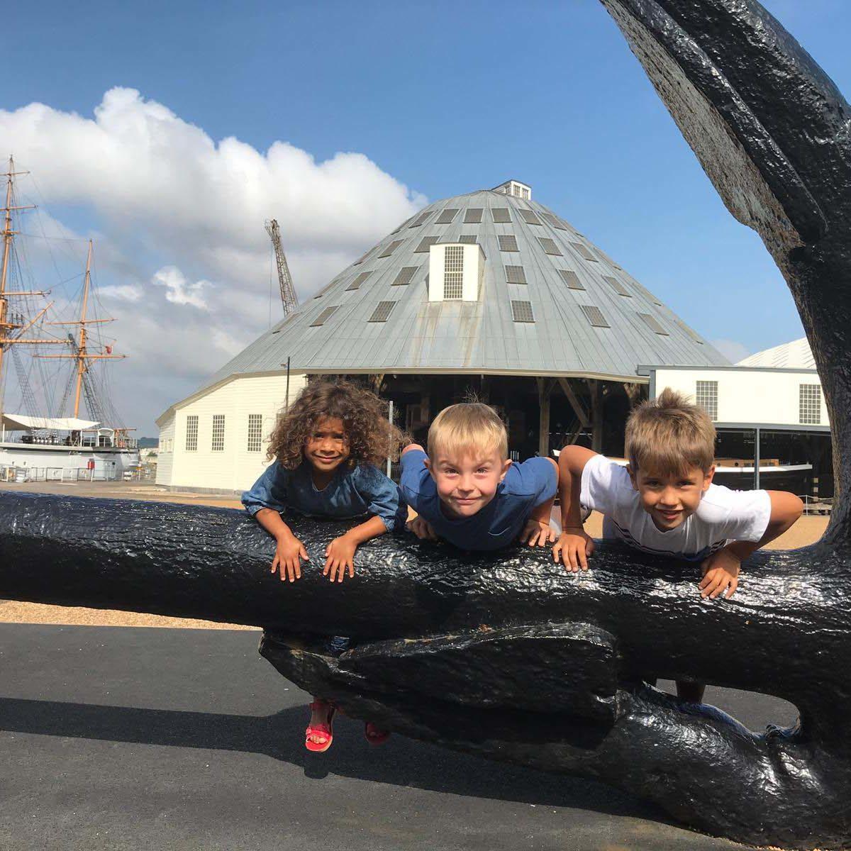 3 kids on Anchor The Historic Dockyard Chatham