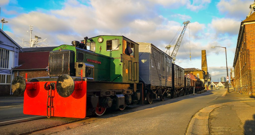 Rochester Castle on the historic railway at The Historic Dockyard Chatham