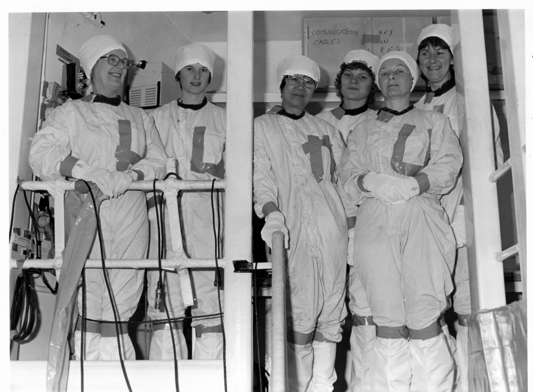 6 female Nuclear group workers in protective clothing