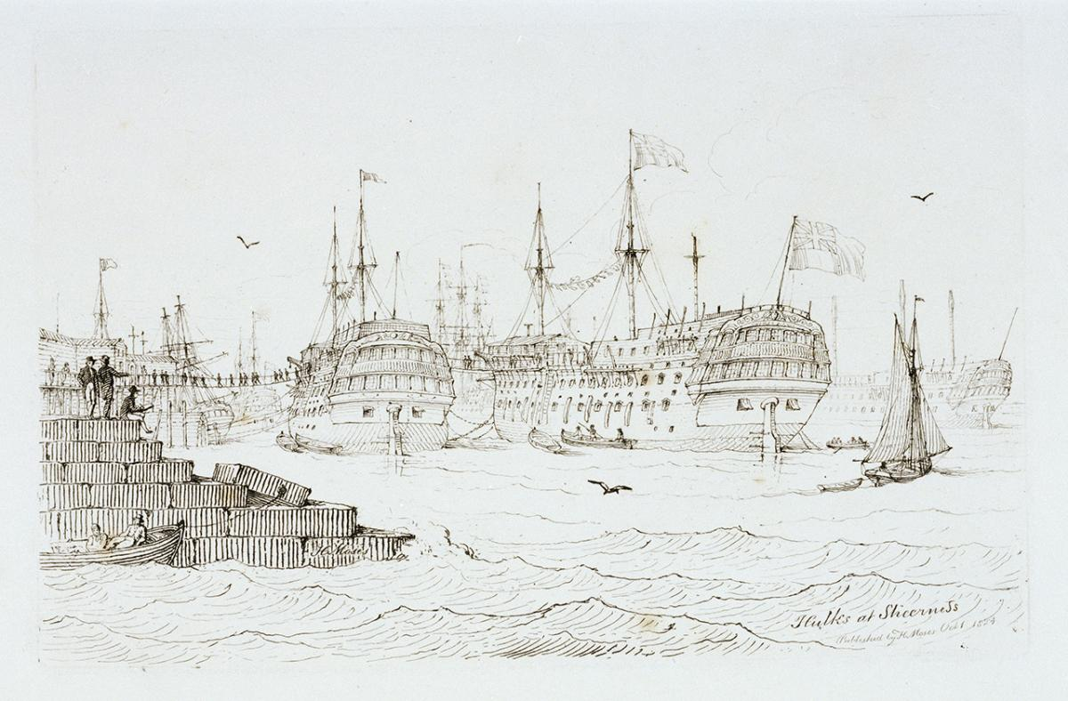 Print from Moses' 'Sketches of Shipping', entitled 'Hulks at Sheerness'. Signed, inscribed and dated.